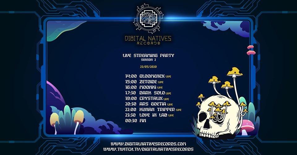 Party Flyer Digital Natives Records // Streaming Party // Season 2 23 May '20, 19:00