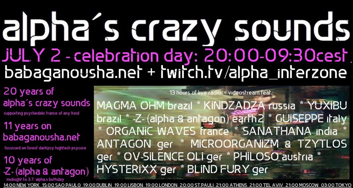 Party Flyer alpha.s crazy sounds - celebration day - 13 hours live streaming 2 Jul '20, 22:00