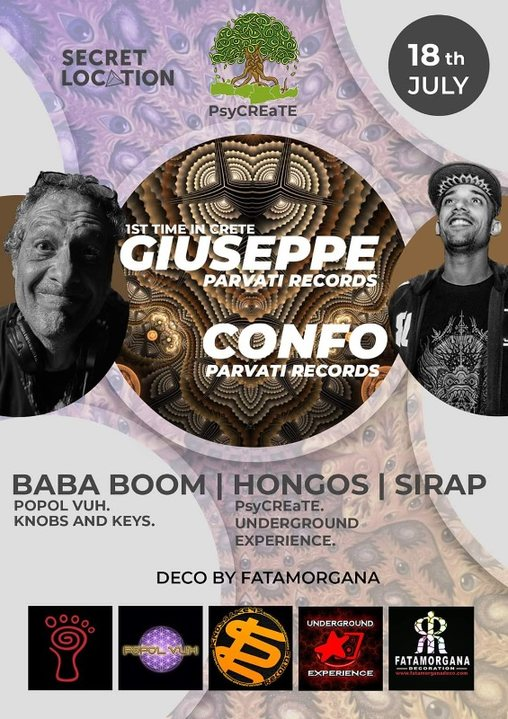 Party Flyer Outdoor Party with Giuseppe-Confo(Parvati records) 18 Jul '20, 23:00