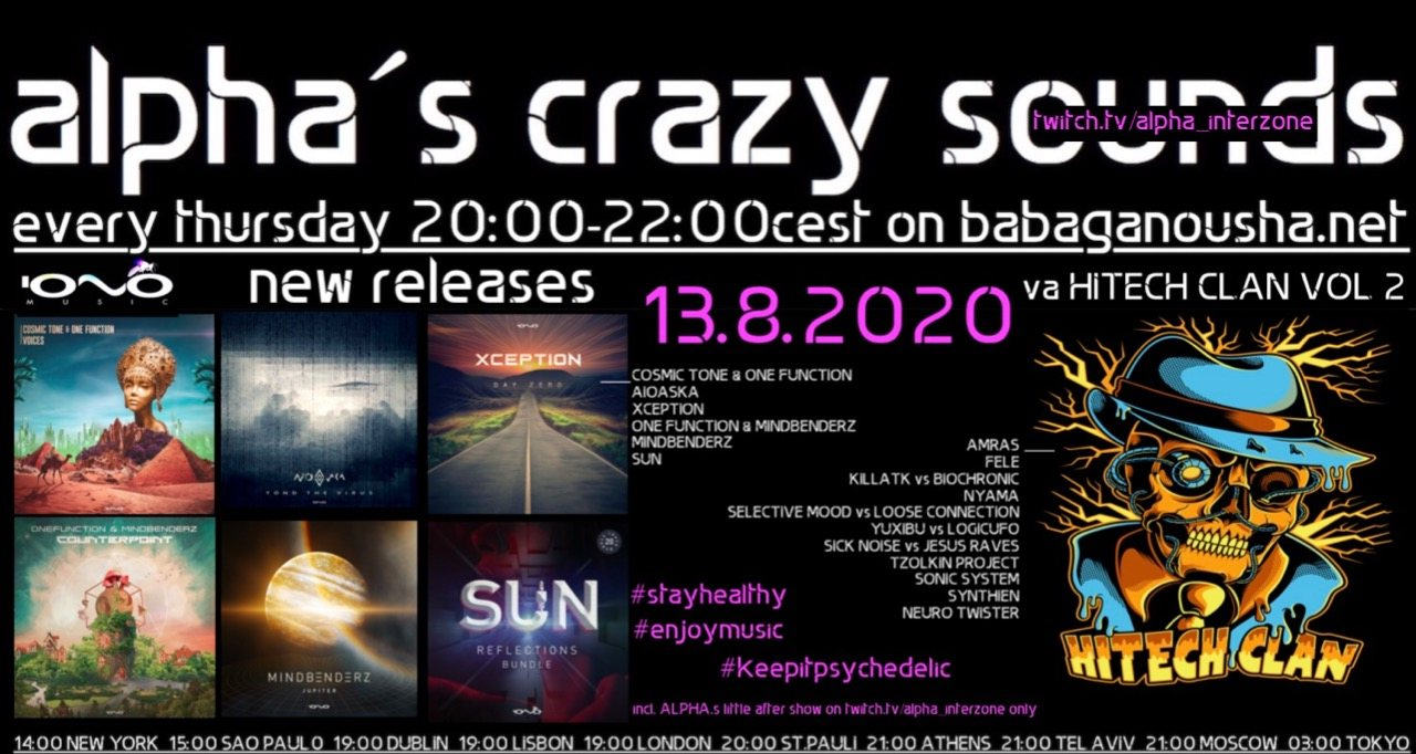 alpha.s crazy sounds - IONO MUSIC new releases + va HITECH CLAN VOL2 13 Aug '20, 20:00