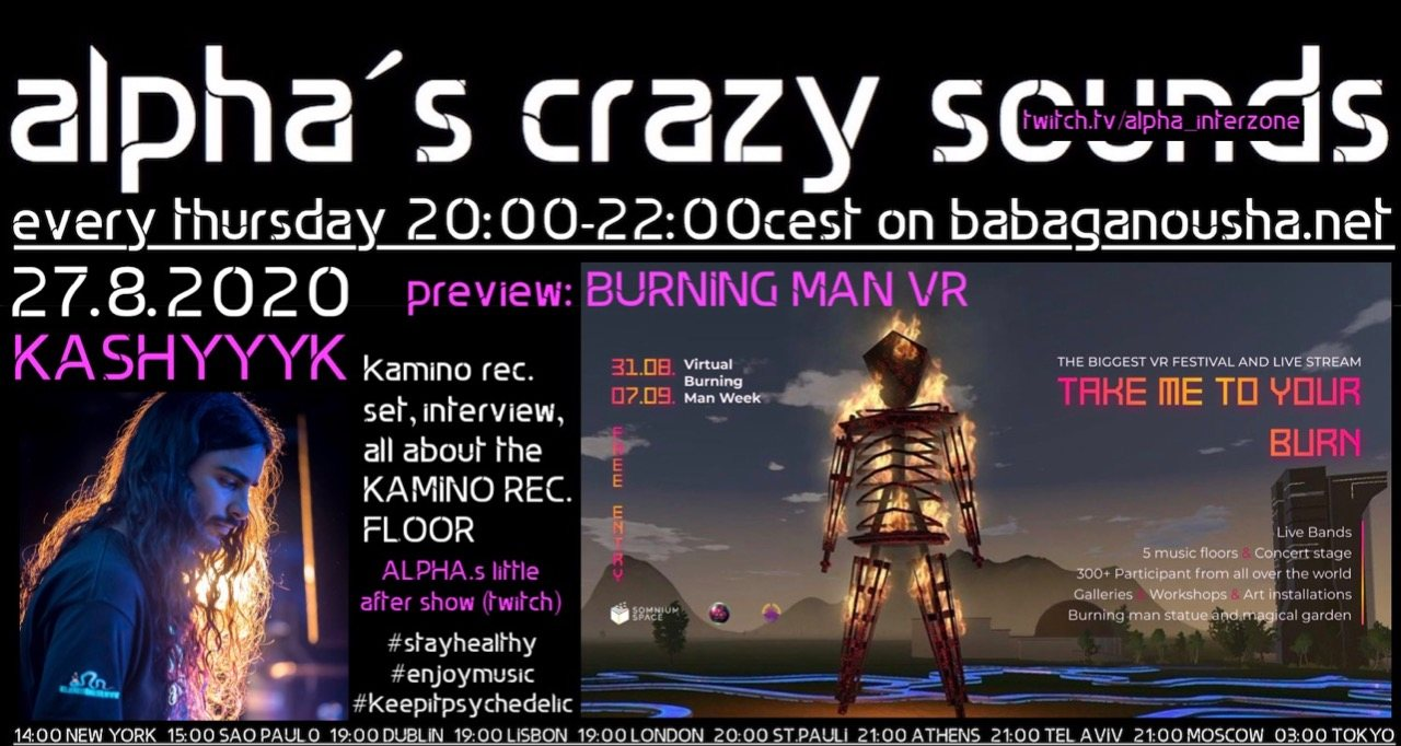 Party Flyer alpha.s crazy sounds - BURNING MAN VR + KASHYYYK set 27 Aug '20, 20:00