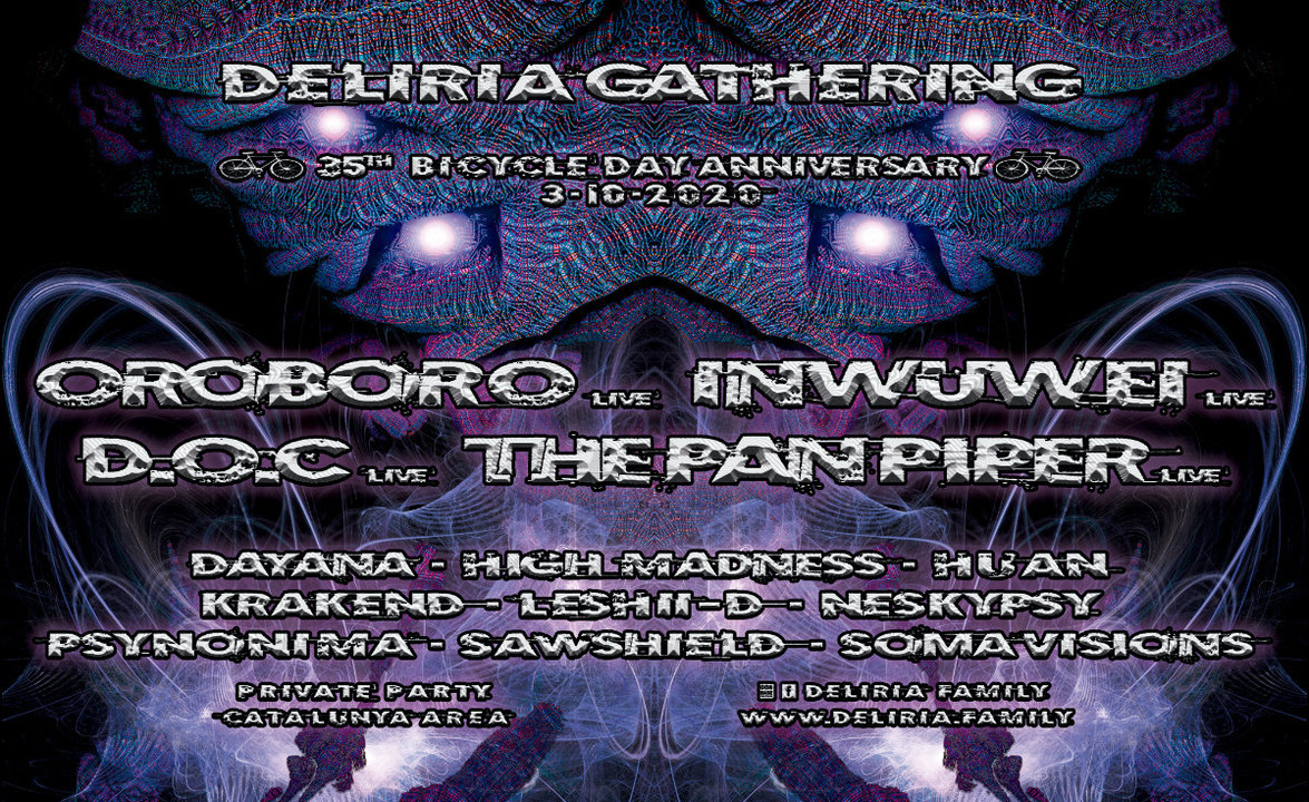 Party Flyer Deliria Gathering - 35th Bicycle Day Anniversary 3 Oct '20, 18:00