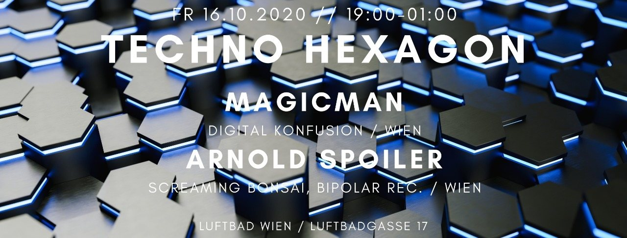 Party Flyer Techno Hexagon 16 Oct '20, 19:00