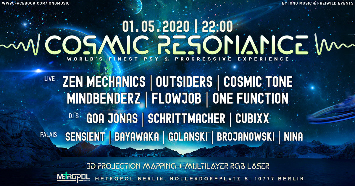 Party Flyer !canceled! - COSMIC RESONANCE - world´s finest psy & prog. experience 1 May '20, 22:00