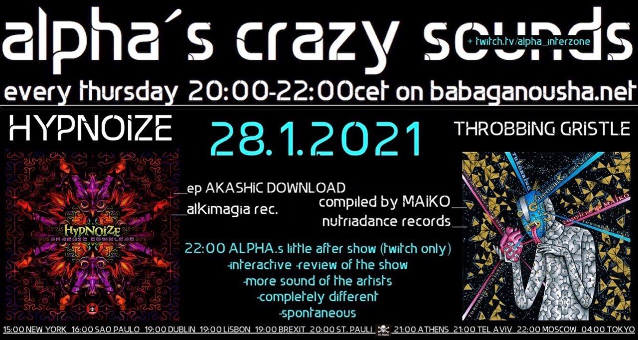 Party Flyer alpha.s crazy sounds - HYPNOIZE ep + va THROBBING GRISTLE 28 Jan '21, 20:00