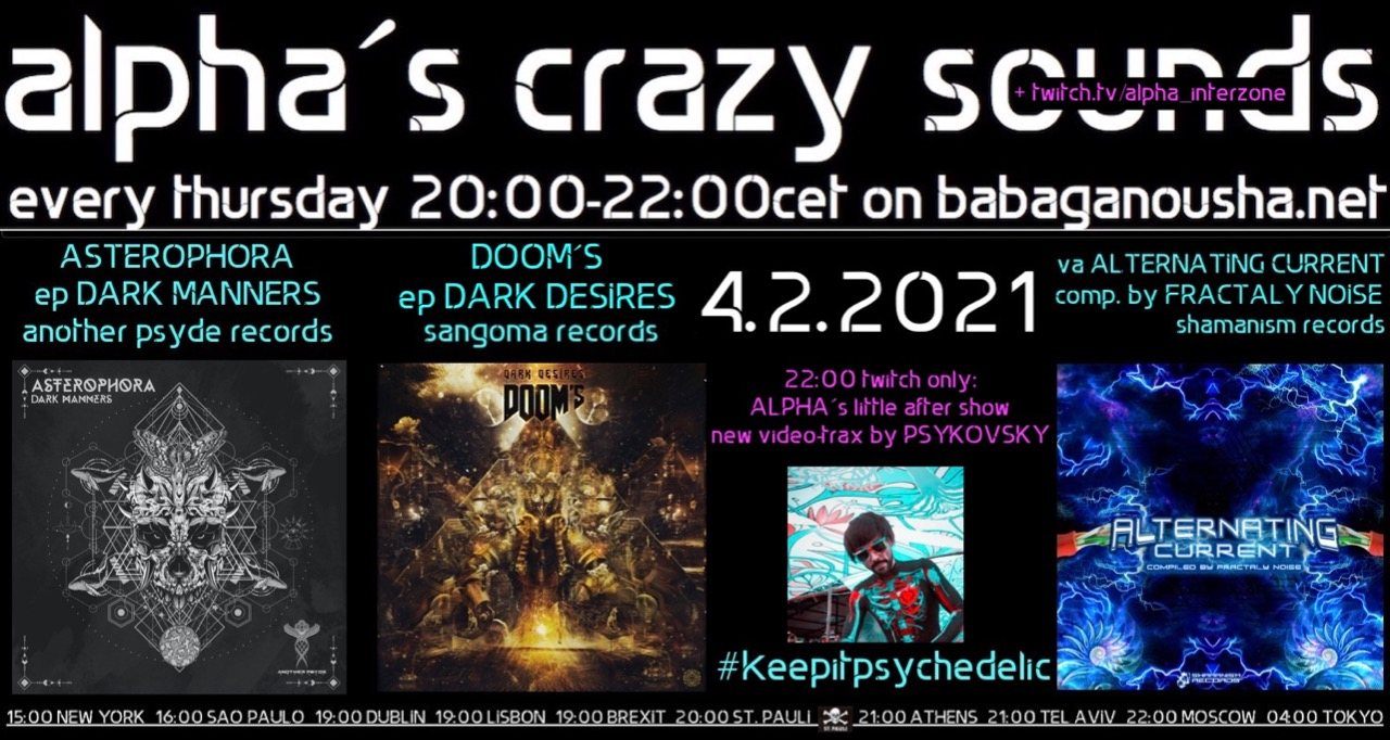 Party Flyer alpha.s crazy sounds: ASTEROPHOBA ep, DOOM´S ep, va ALTERNATING CURRENT 4 Feb '21, 20:00