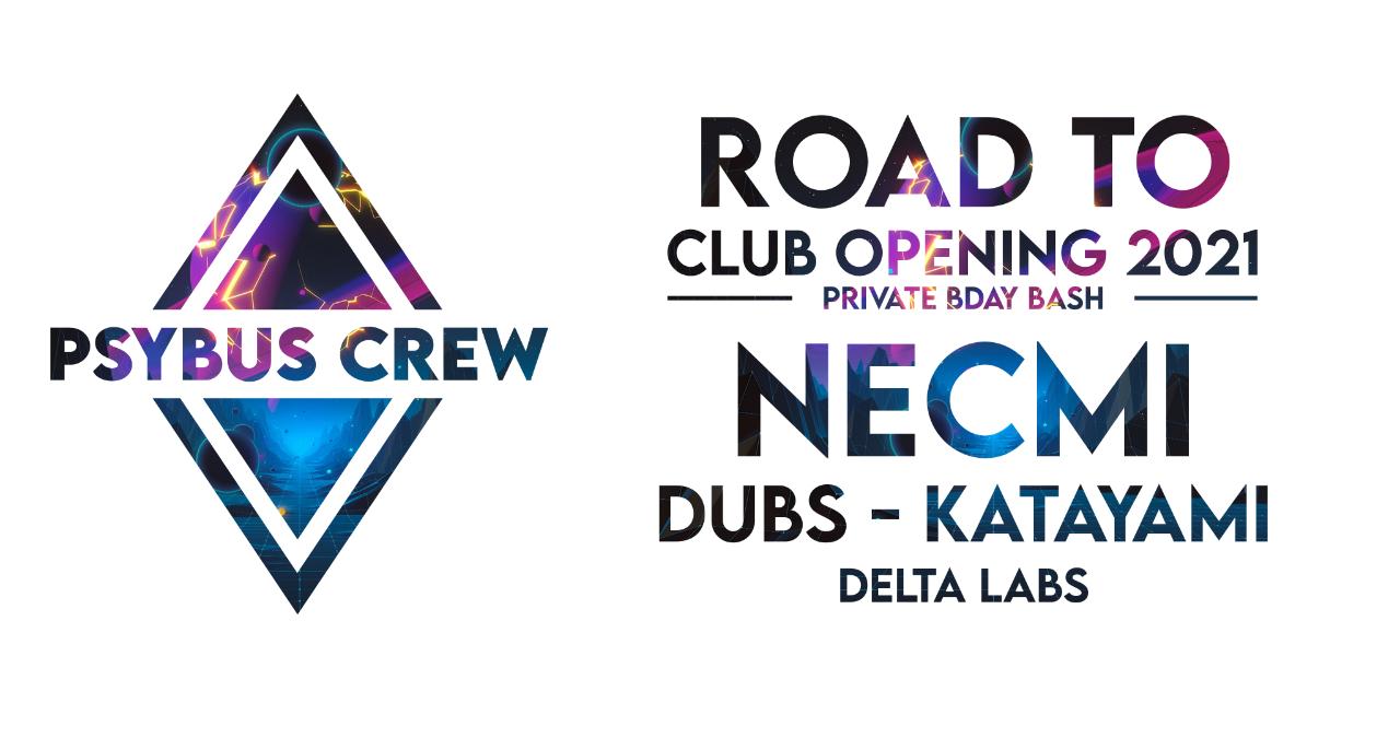 Party Flyer PsyBus Crew Birthday Bash feat. Road to Club Opening Vol. 2 w/ NECMI, DUBS uvm. 16 Jul '21, 23:00