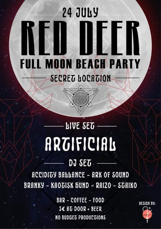 Party Flyer RED DEER FULL MOON BEACH PARTY 24 Jul '21, 22:00