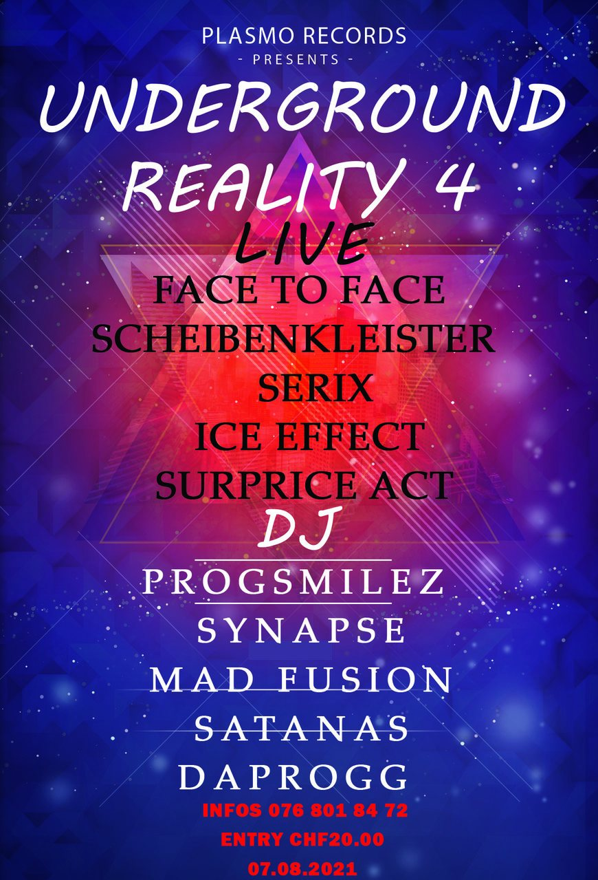 Party Flyer Underground Reality 4 7 Aug '21, 20:00