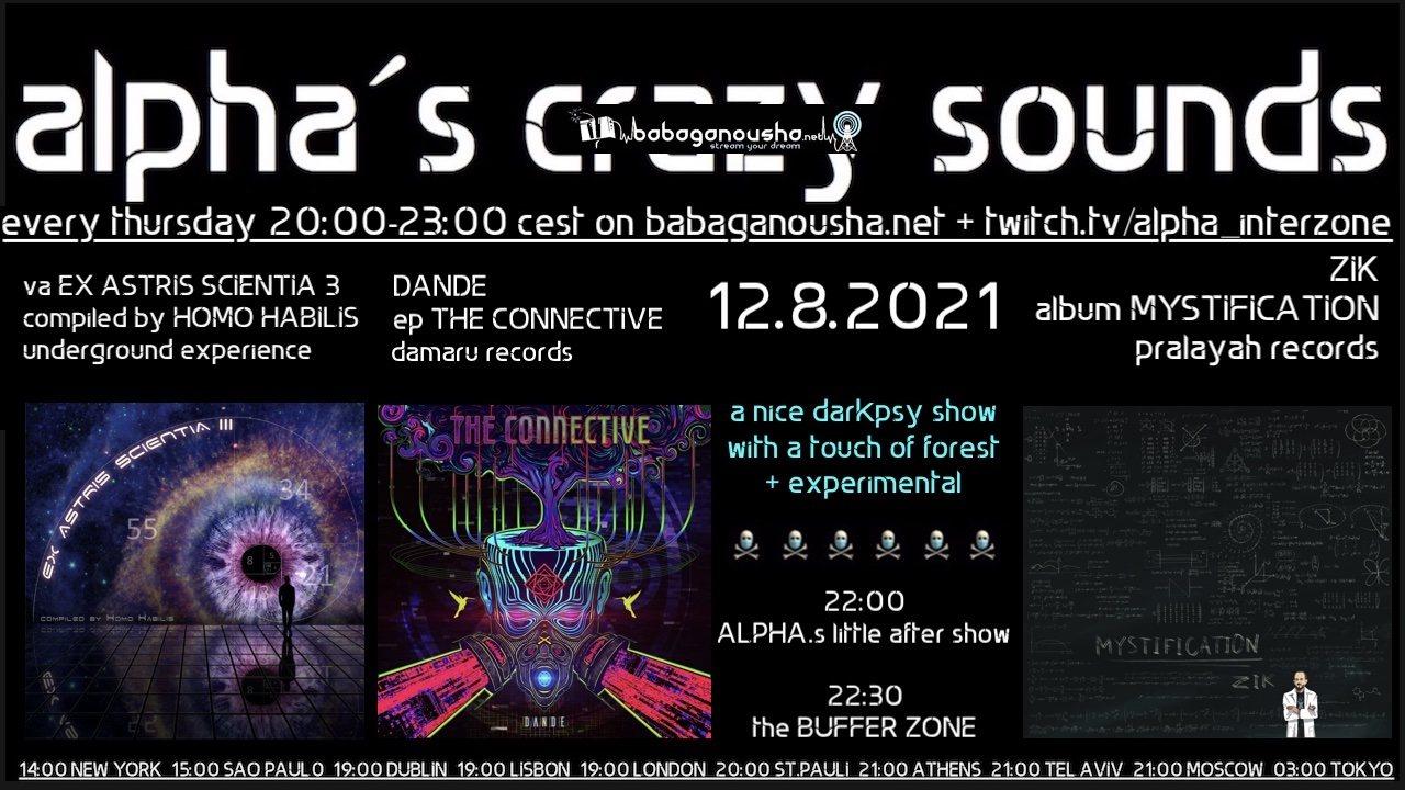 Party Flyer alpha.s crazy sounds: va EX ASTRIS SCIENTIA III, DANDE ep, ZIK album 12 Aug '21, 20:00
