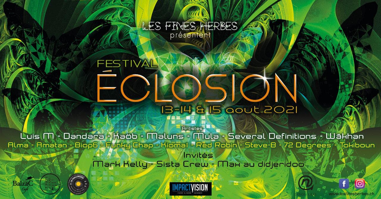 Party Flyer Éclosion Festival 2021 13 Aug '21, 15:00