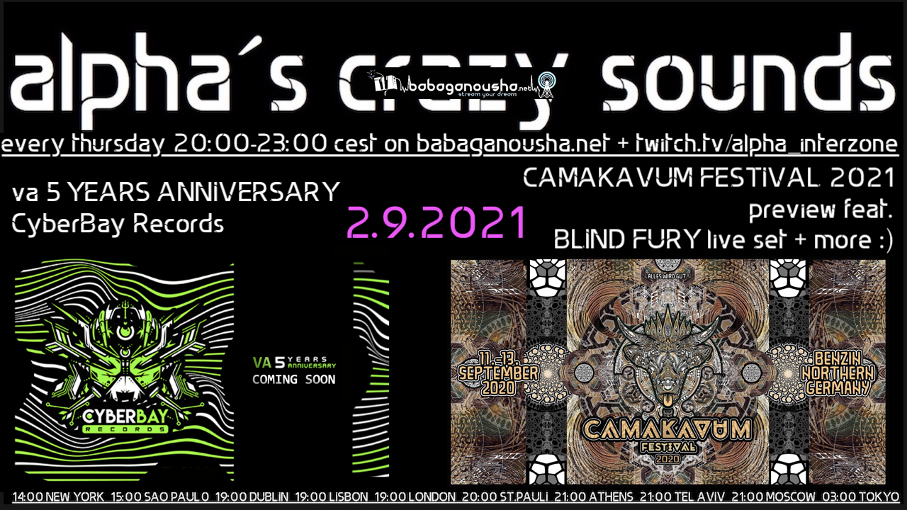 Party Flyer alpha.s crazy sounds: va 5 YEARS ANNIVERSARY CyberBay Rec + BLIND FURY live set 2 Sep '21, 20:00