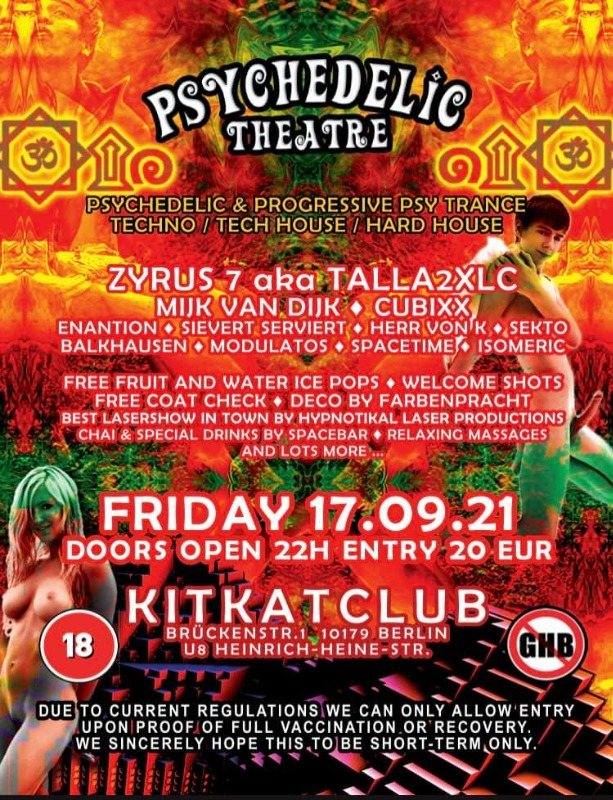 Psychedelic Theatre back at KitKat 17 Sep '21, 22:00