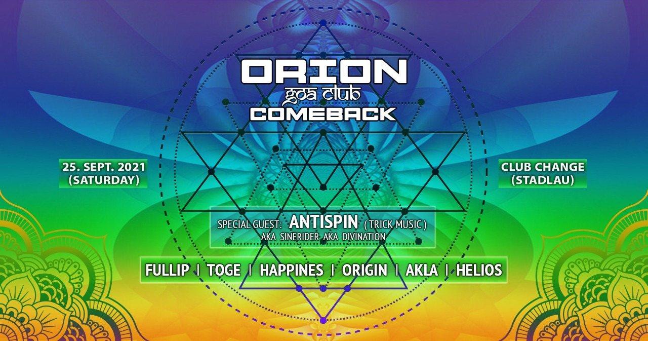 Orion Goa Club - The Comeback 25 Sep '21, 22:00