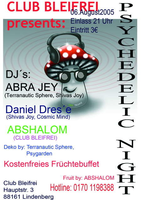 Party Flyer Psychedelic Night 6 Aug '05, 22:00