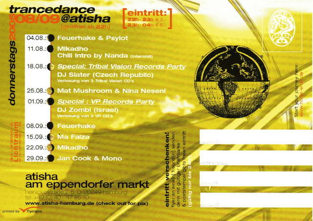 Party Flyer VP Records @ Atisha 1 Sep '05, 22:00