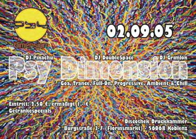 Party Flyer Psy Dimension 2 Sep '05, 22:00