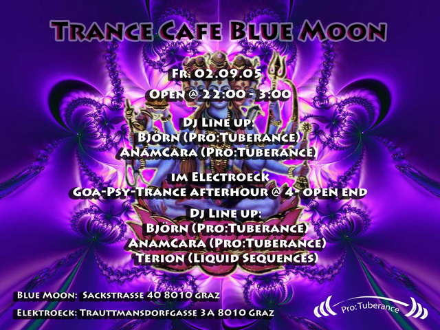Party Flyer Trance Cafe Blue Moon 2 Sep '05, 22:00