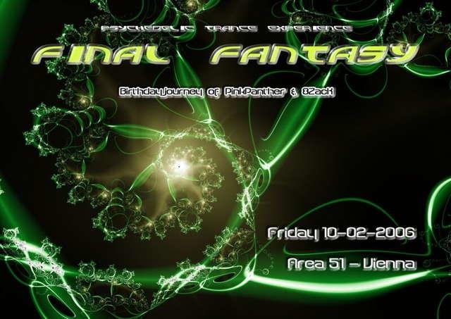 Party Flyer ~~~ Final Fantasy ~~~ Birthdayjourney of PinkPanther & 8ZacK 10 Feb '06, 22:00