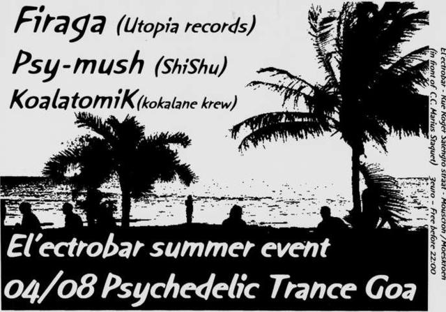 Party Flyer El'ectrobar summer event - Psychedelic Trance Goa - 4 Aug '06, 22:00