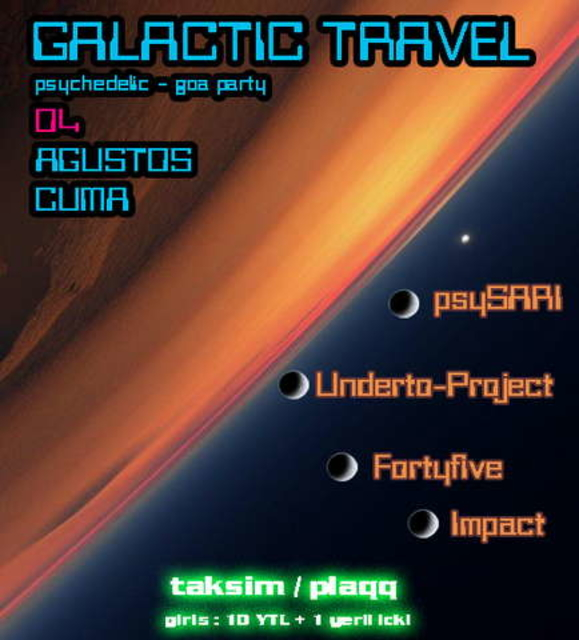 Party Flyer GALACTIC TRAVEL 4 Aug '06, 22:00