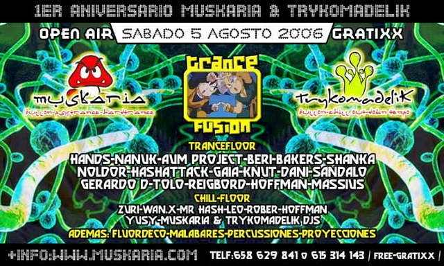 Party Flyer Muskaria & Trykomadelik FREE Aniversary - OPEN AIR PARTY 5 Aug '06, 23:30