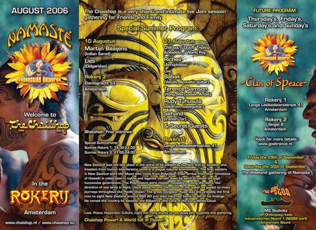 Party Flyer Namasté - The Chaishop 27 Aug '06, 19:00