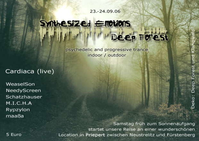Party Flyer SyNtHeSiZedEmotions VS: Deep Forest Crew 23 Sep '06, 21:00