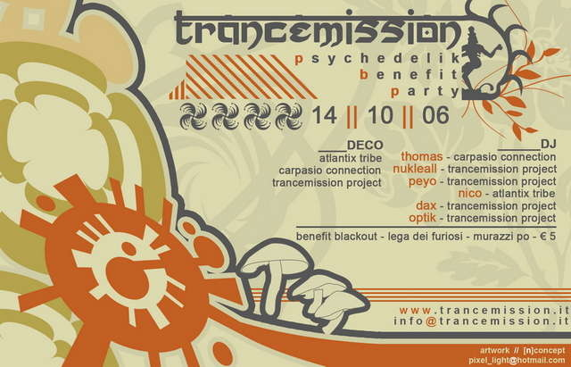 Party Flyer Trancemission Project Benefit Party 14 Oct '06, 23:00