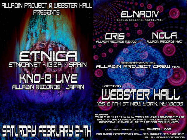 Party Flyer Alladin Project Presents: ETNICA, KNO-B LIVE, ELNADIV , CRIS 24 Feb '07, 23:00