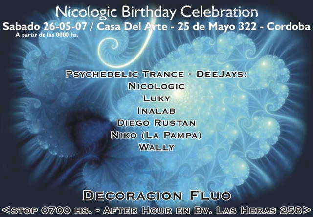 Party Flyer Nicologic Birth Party - Rays of cosmic Love 26 May '07, 22:00