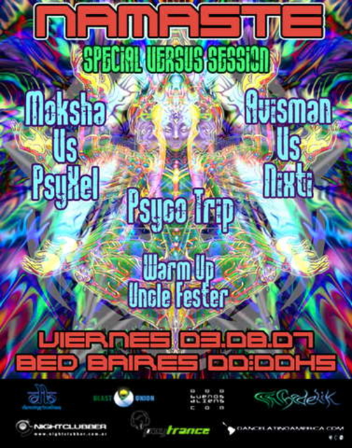 Party Flyer Namaste! 3 Aug '07, 23:30