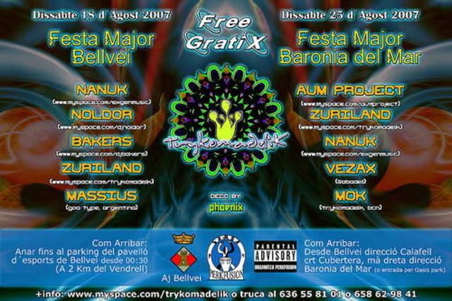 Party Flyer Trykomadelik Crew@FM Baronia Del Mar 25 Aug '07, 23:30