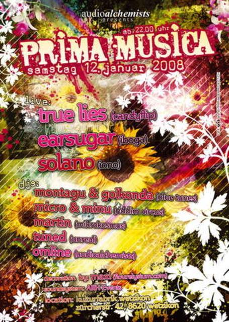 Party Flyer Prima Musica 12 Jan '08, 22:00