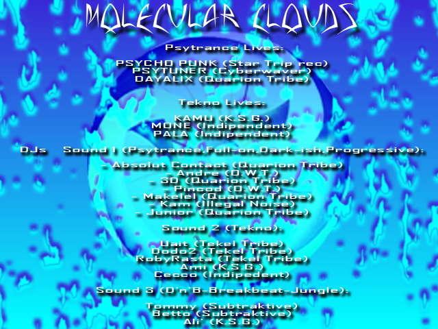 Party Flyer MOLECULAR CLOUDS 26 Jan '08, 22:00