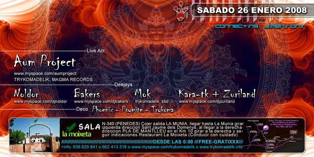 Party Flyer Trykomadelik Free Party@La Moixeta Club 26 Jan '08, 23:30