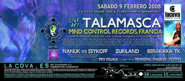 Party Flyer Talamasca@La Cova Forest Club 9 Feb '08, 23:30
