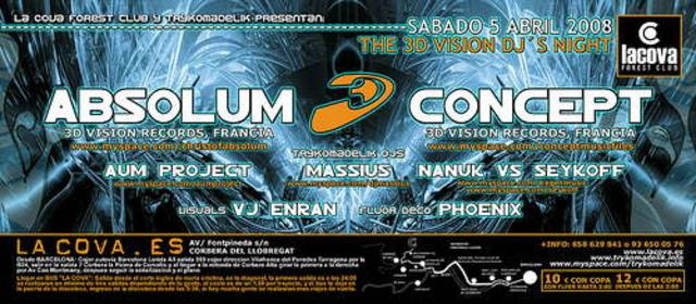 Party Flyer Trykomadelik ABSOLUM + CONCEPT@La Cova Club 5 Apr '08, 23:30