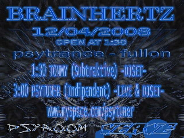 Party Flyer BRAINHERTZ - Every Saturday Night 12 Apr '08, 23:30