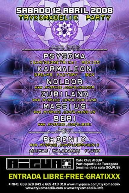 Party Flyer Trykomadelik Free Party II@AIGUA Club 12 Apr '08, 23:30