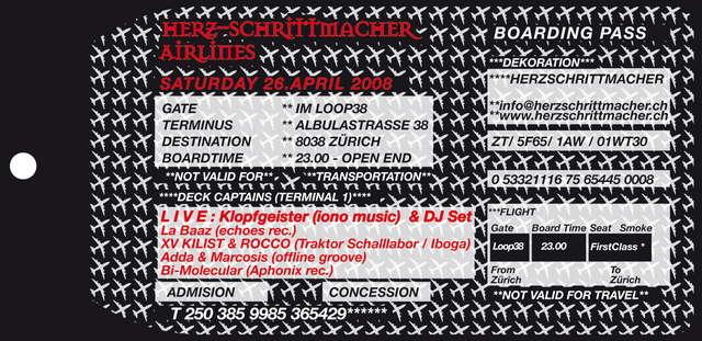 Party Flyer HERZSCHRITTMACHER präsentiert: Die Wiederholung 26 Apr '08, 23:00