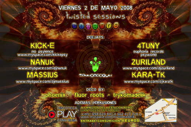 Party Flyer Twisted Sessions@Play Club 2 May '08, 23:30