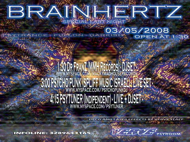 Party Flyer BRAINHERTZ (Psyroom) - Special Last Night - 3 May '08, 23:30