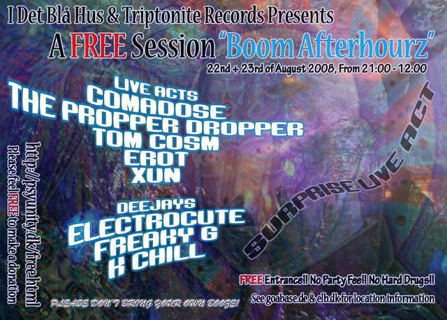"""Party Flyer A FREE Session """"Boom Afterhourz"""" 22 Aug '08, 21:00"""