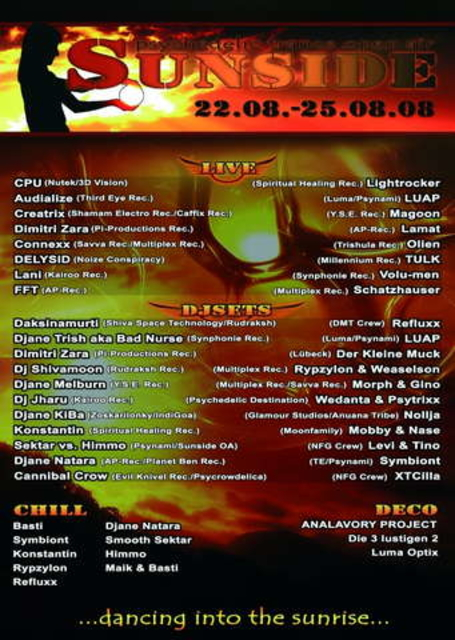 """Party Flyer Sunside OA """"dancing into the Sunrise"""" 22 Aug '08, 20:00"""