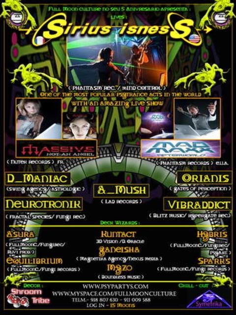 Party Flyer 5º Aniversário da Full Moon Culture 8 Nov '08, 23:30