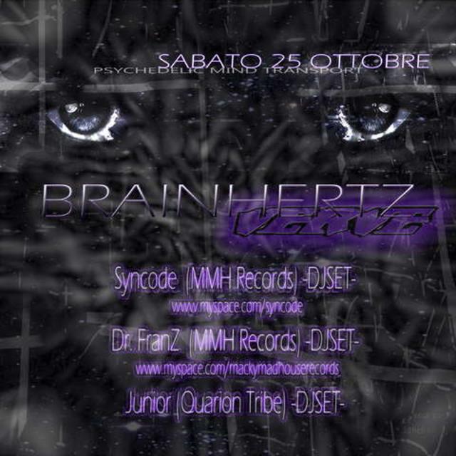 Party Flyer BRAINHERTZ (Hypnotic Zone) - Every Saturday - 8 Nov '08, 23:30