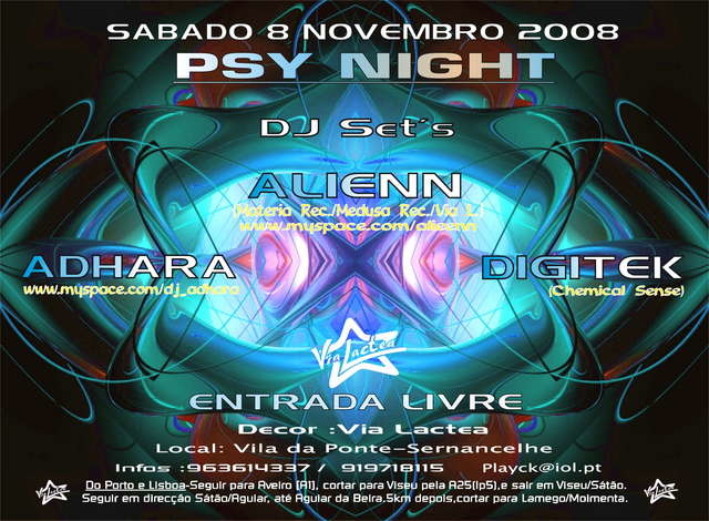 Party Flyer Psy Night 8 Nov '08, 23:30