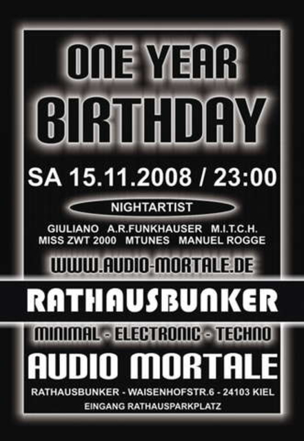 Party Flyer One Year Audio Mortale Anniversary 15 Nov '08, 23:00