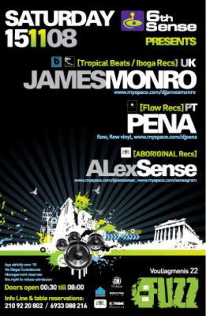 Party Flyer 6th Sense presents SAT 15 NOV JAMES MONRO, PENA, ALEXSENSE 15 Nov '08, 23:30